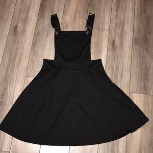 Black A-line overall buckle dress, size large